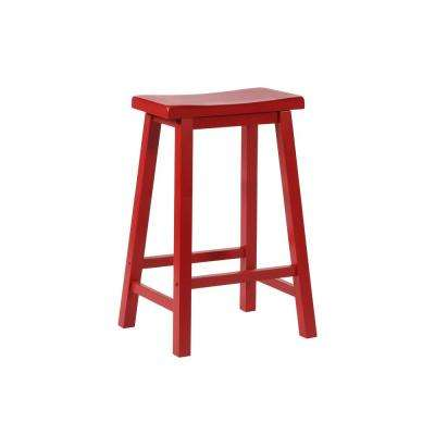 Berger 29 in. Red Saddle Barstool