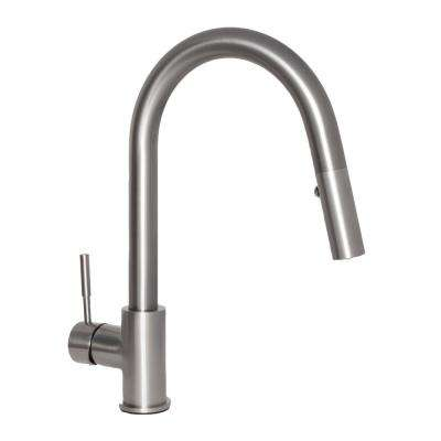 Arthur Single-Handle Pull-Down Sprayer Kitchen Faucet in Stainless Steel