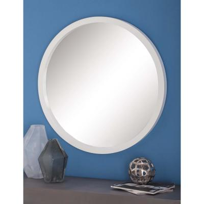 Medium Round White Modern Mirror (32 in. H x 32 in. W)