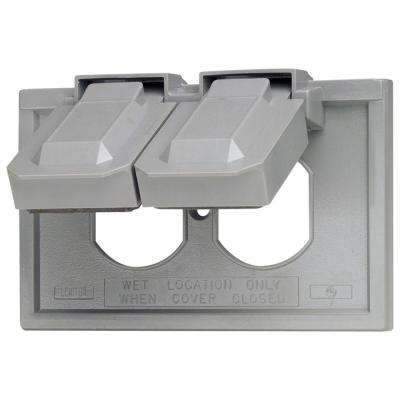 1-Gang Rain Tight Weather Resistant Duplex Receptacle Horizontal Mount Wall Plate and Gray