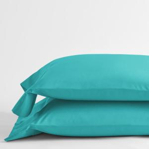 Classic Turquoise Blue Solid 210-Thread Count Cotton Percale Standard Pillowcase (Set of 2)