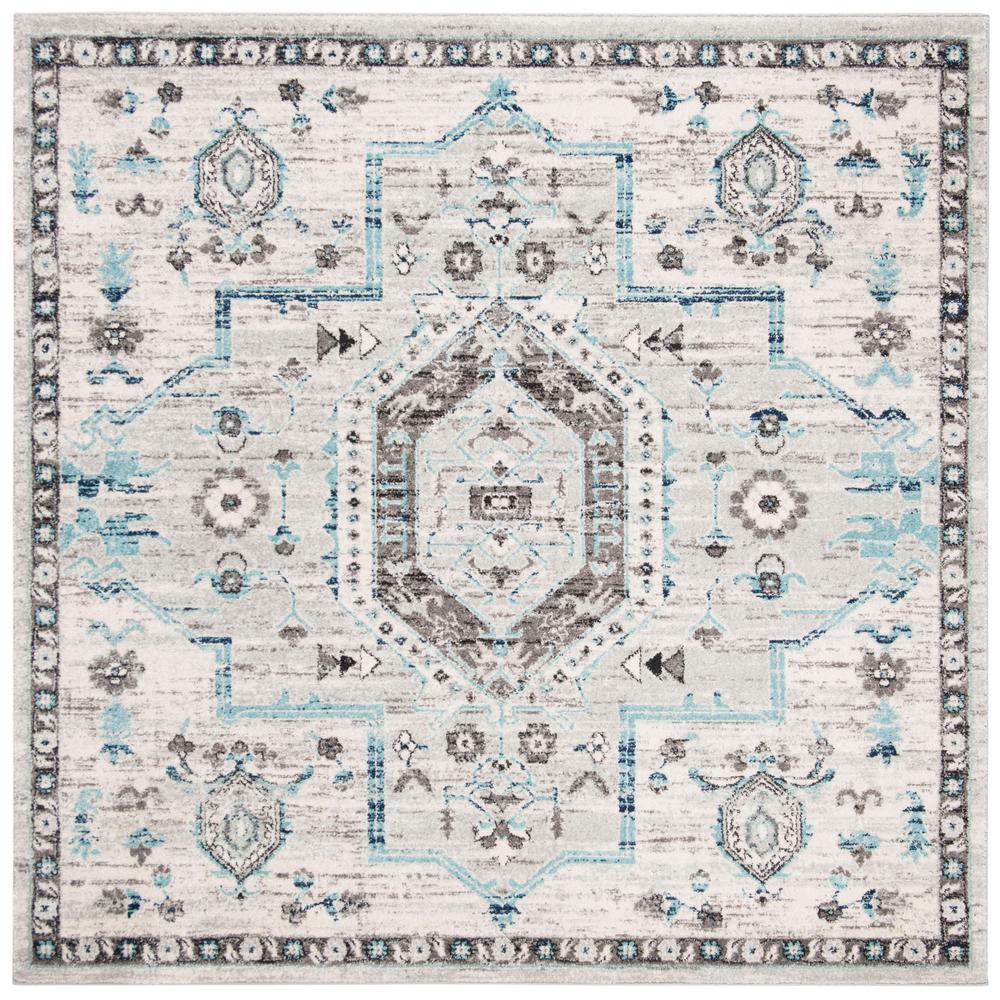 Safavieh Madison Gray/Dark Gray 6 ft. 7 in. x 6 ft. 7 in. Square Area Rug