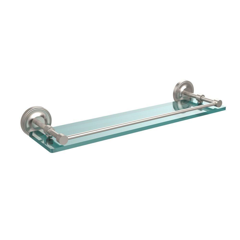 Prestige Regal 22 in. L  x 3 in. H  x 5 in. W Clear Glass Bathroom Shelf with Gallery Rail in Satin Nickel