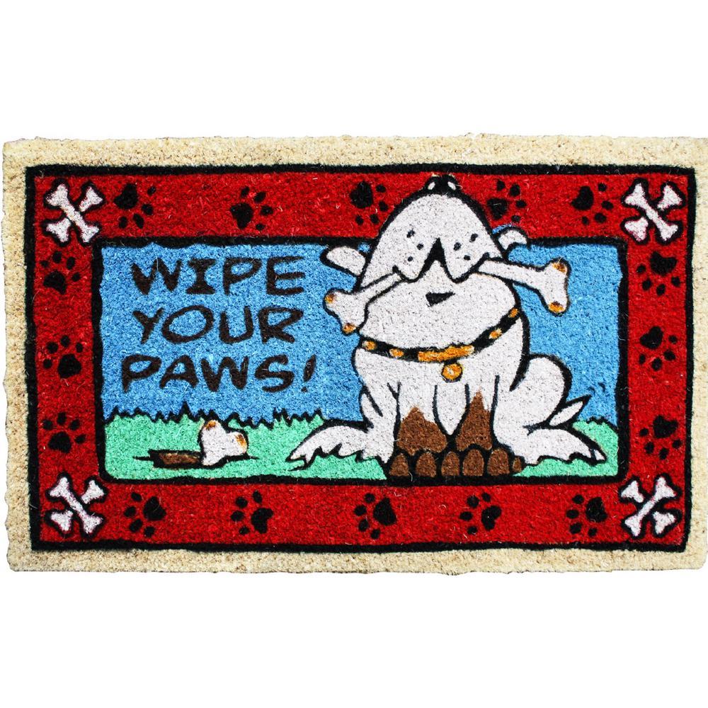 18 in. x 30 in. Wipe Your Paws Doggie Vinyl Back