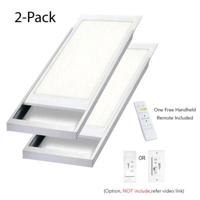 2ft. x 4ft. 600-Watt Equivalent 6300 LM Integrated LED Dimmable Drop Ceiling Flat Panel White Troffer w/ Frames (2-PK)