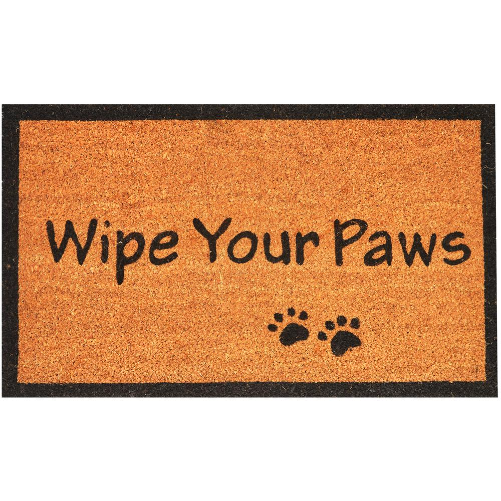 Envelor Wipe Your Paws 30 In X 18 In Coir Door Mat En Vc 51508