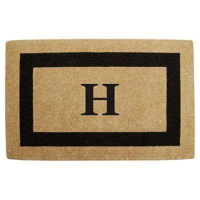 Single Picture Frame Black 30 in. x 48 in. HeavyDuty Coir Monogrammed H Door Mat