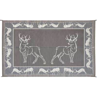9 ft. x 12 ft. Deer Black/Beige Reversible Mat