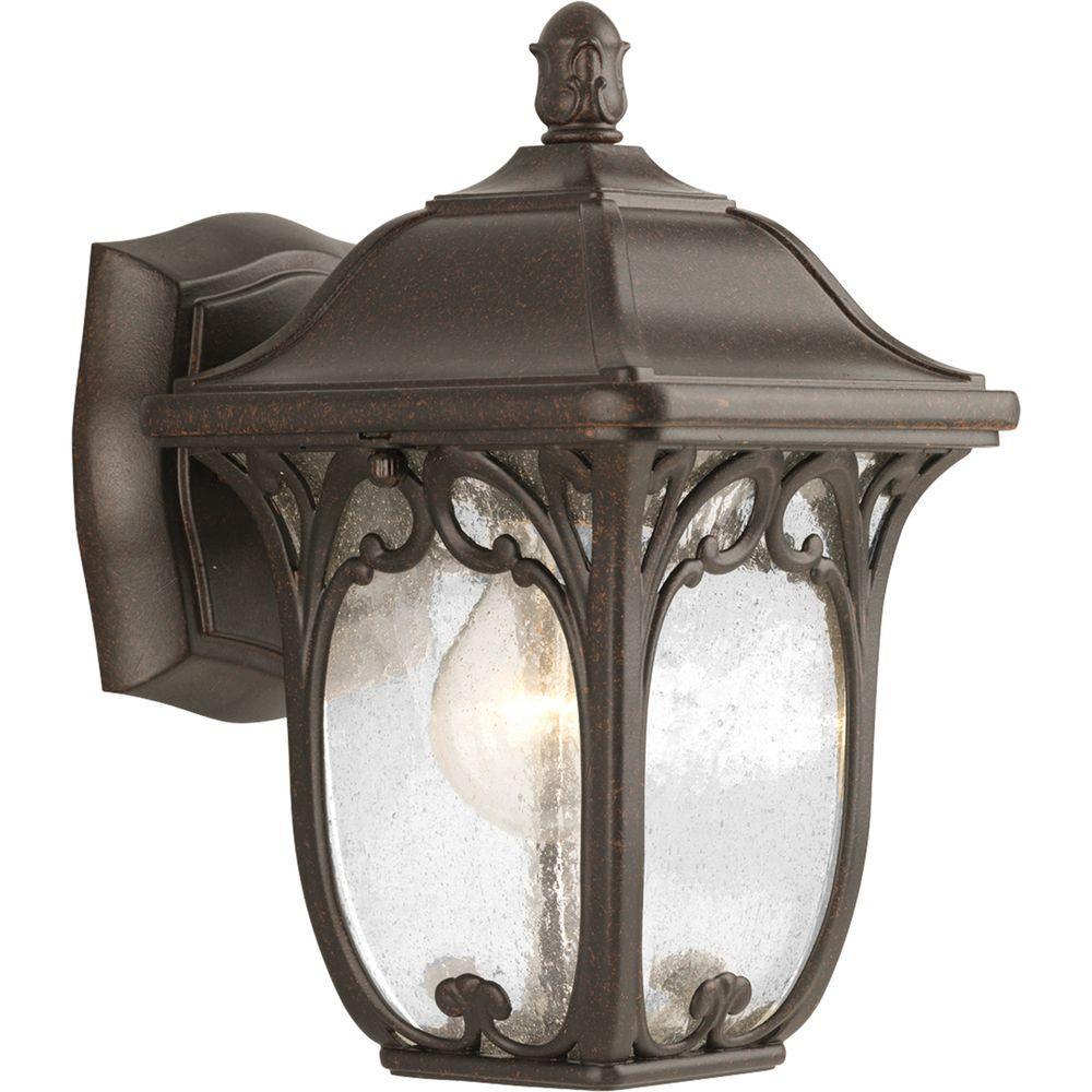 Enchant Collection 1-Light Outdoor Espresso Wall Lantern