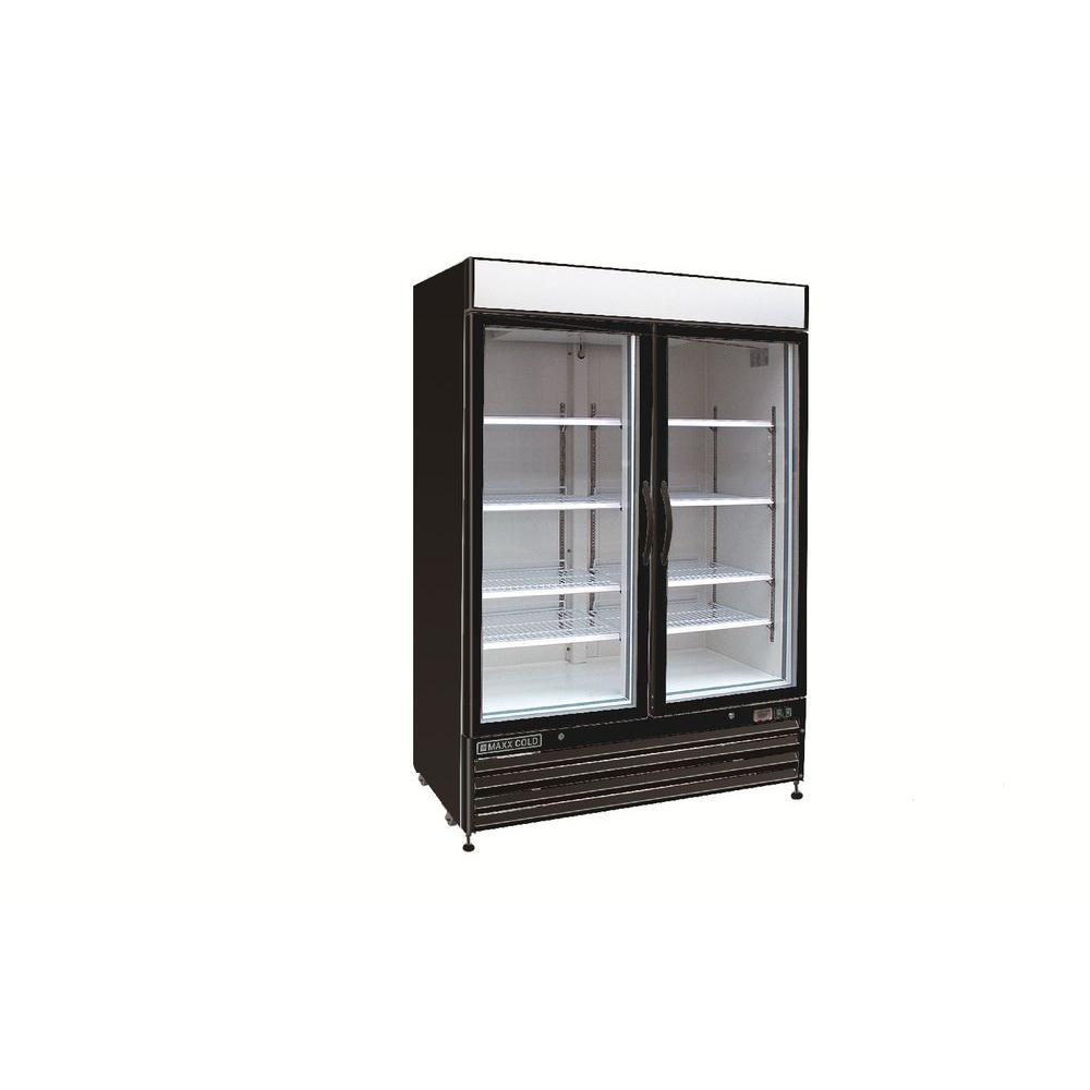 X-Series 48 cu. ft. Double Door Commercial Upright Merchandiser Freezer in Black