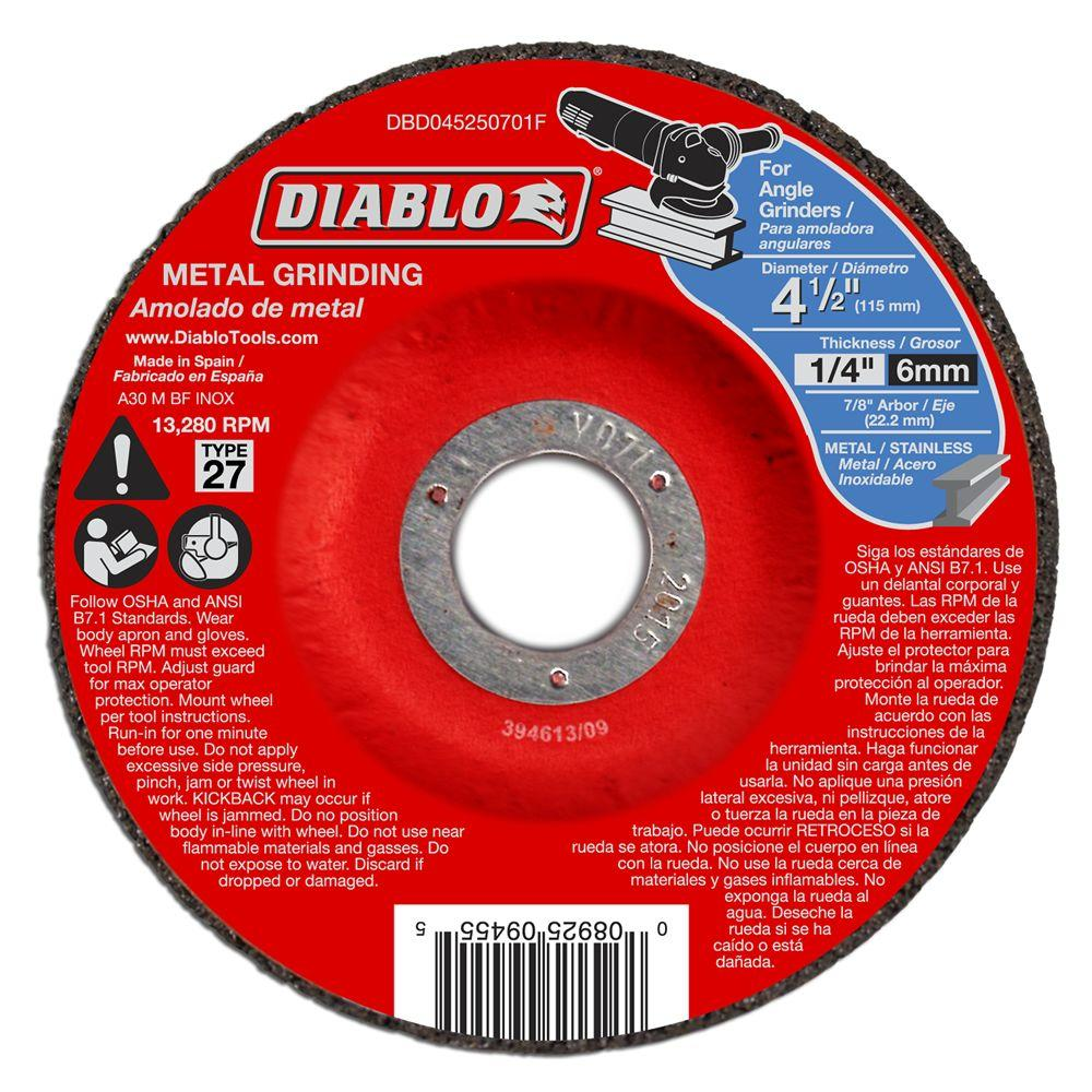 Diablo 4-1/2 in. x 1/4 in. x 7/8 in. Metal Grinding Disc with Type 27 Depressed Center