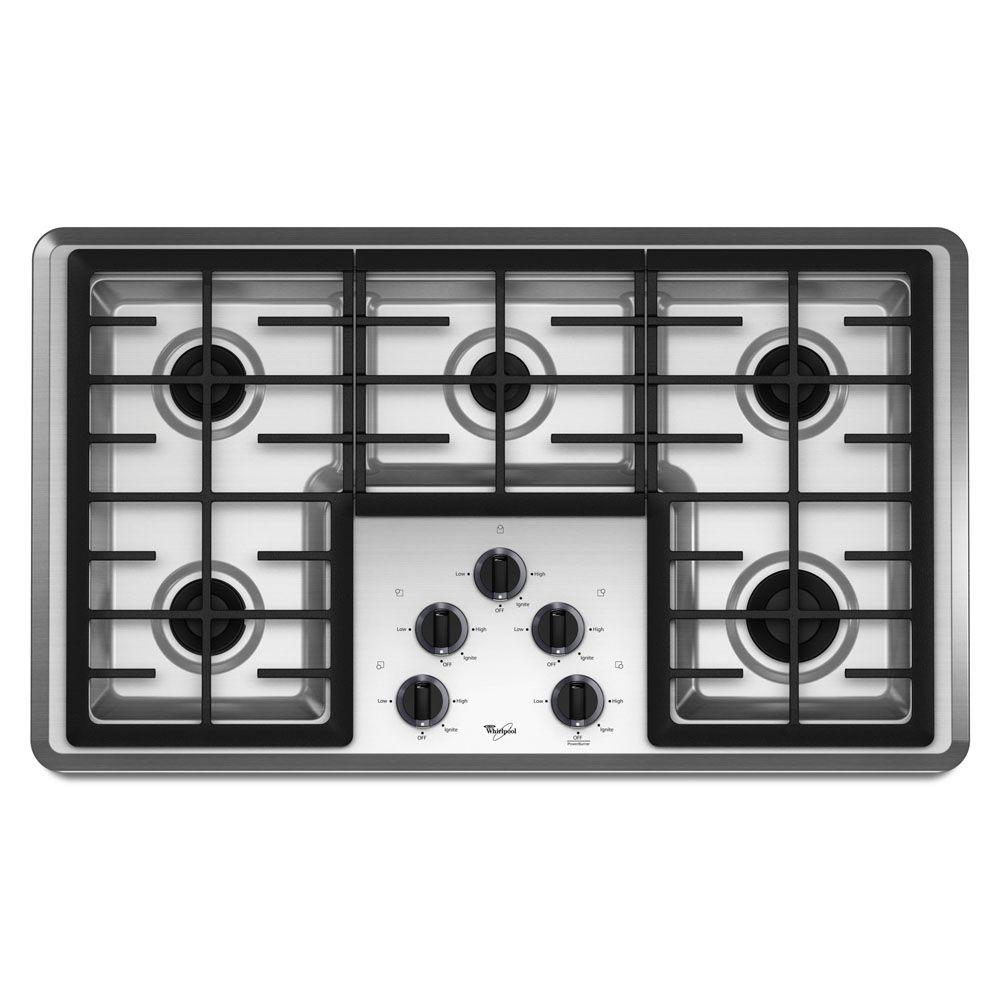 Whirlpool 36 in. Gas Cooktop in Stainless Steel with 5 Burners including Power Burners