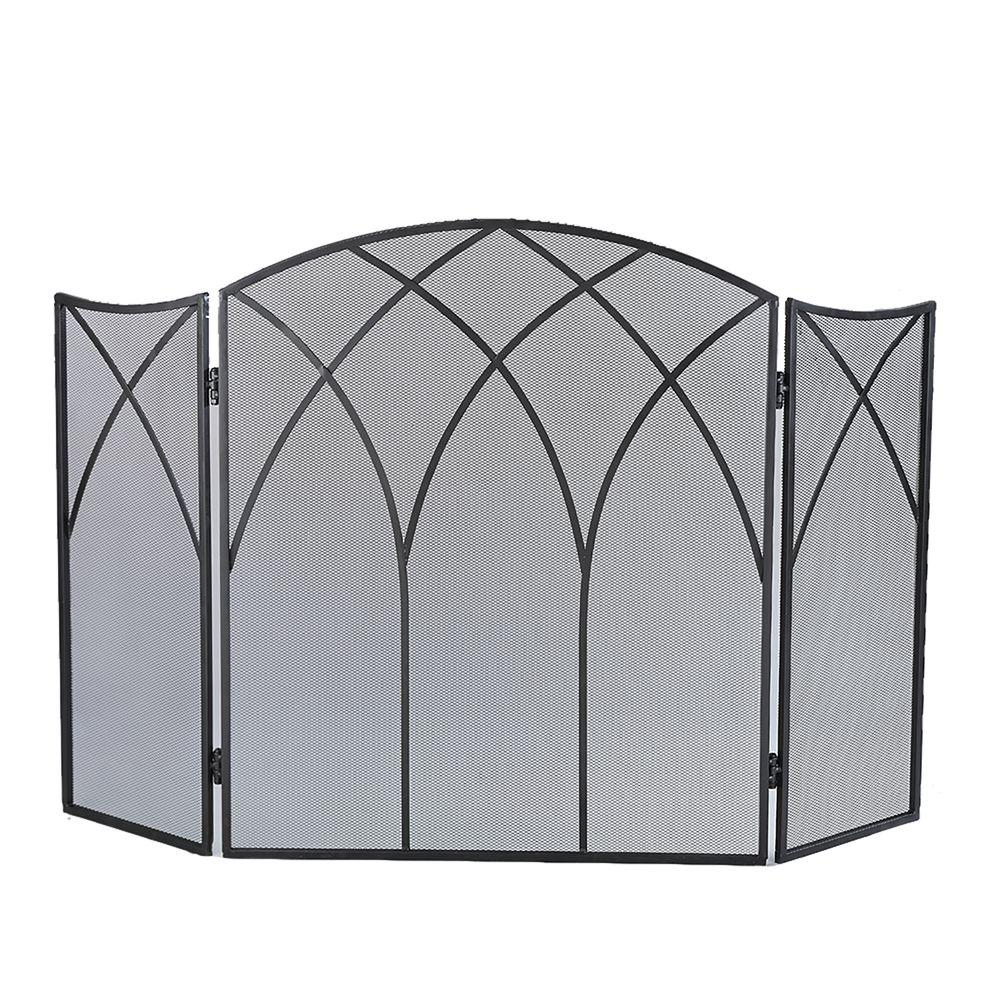Pleasant Hearth Gothic Black Steel 3 Panel Fireplace Screen
