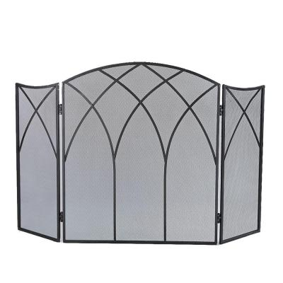 Gothic Black Steel 3-Panel Fireplace Screen