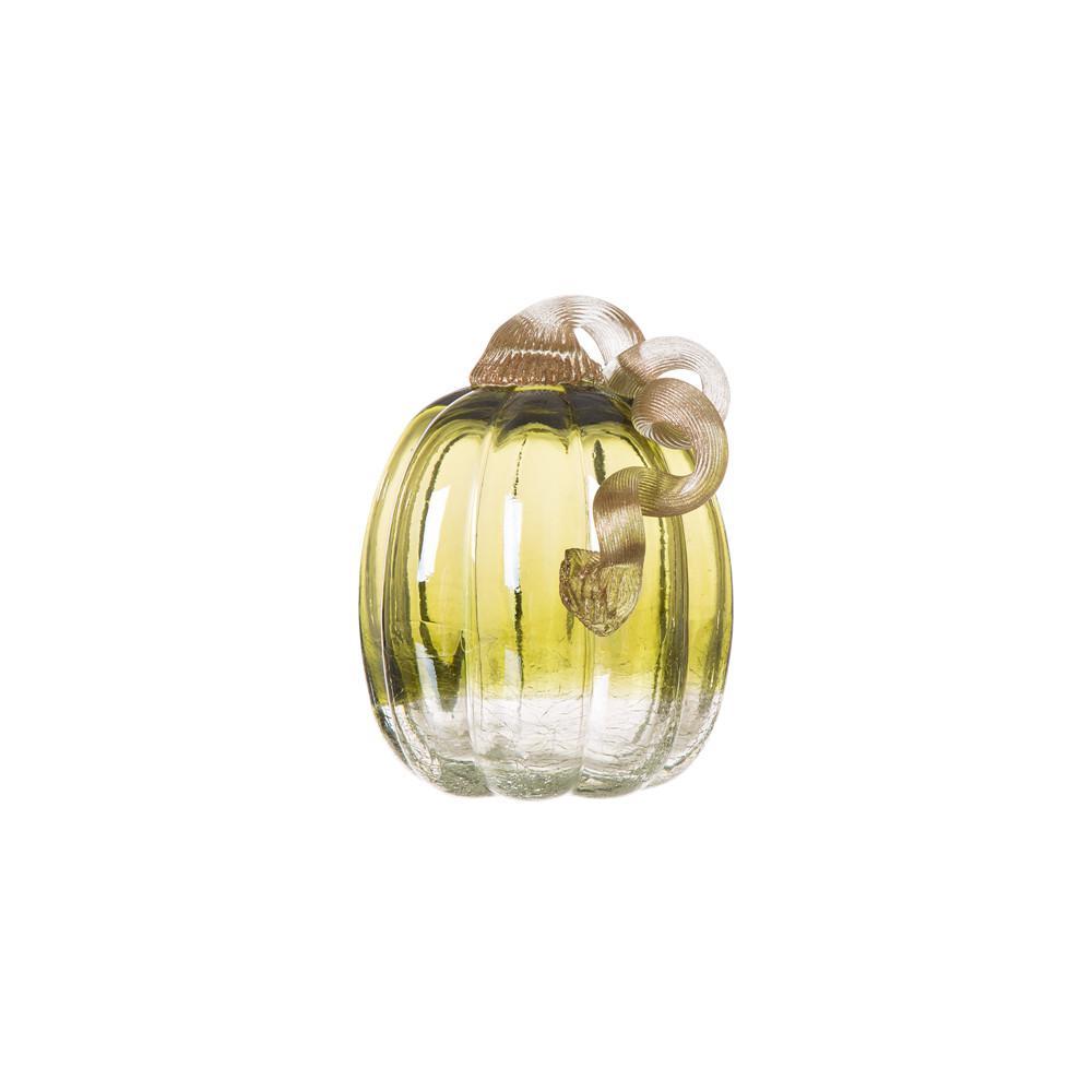 5.51 in. H Green Crackle Glass Pumpkin