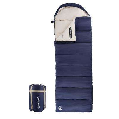 3-Season Envelope Style Sleeping Bag with Carrying Bag and Compression Straps in Navy
