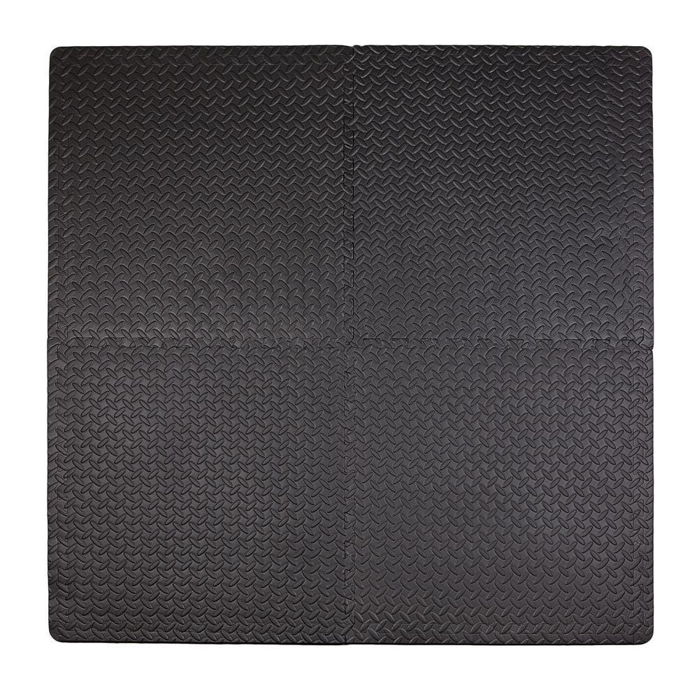 Steel Plate Black 50 in. x 50 in. EVA Floor Mat Set