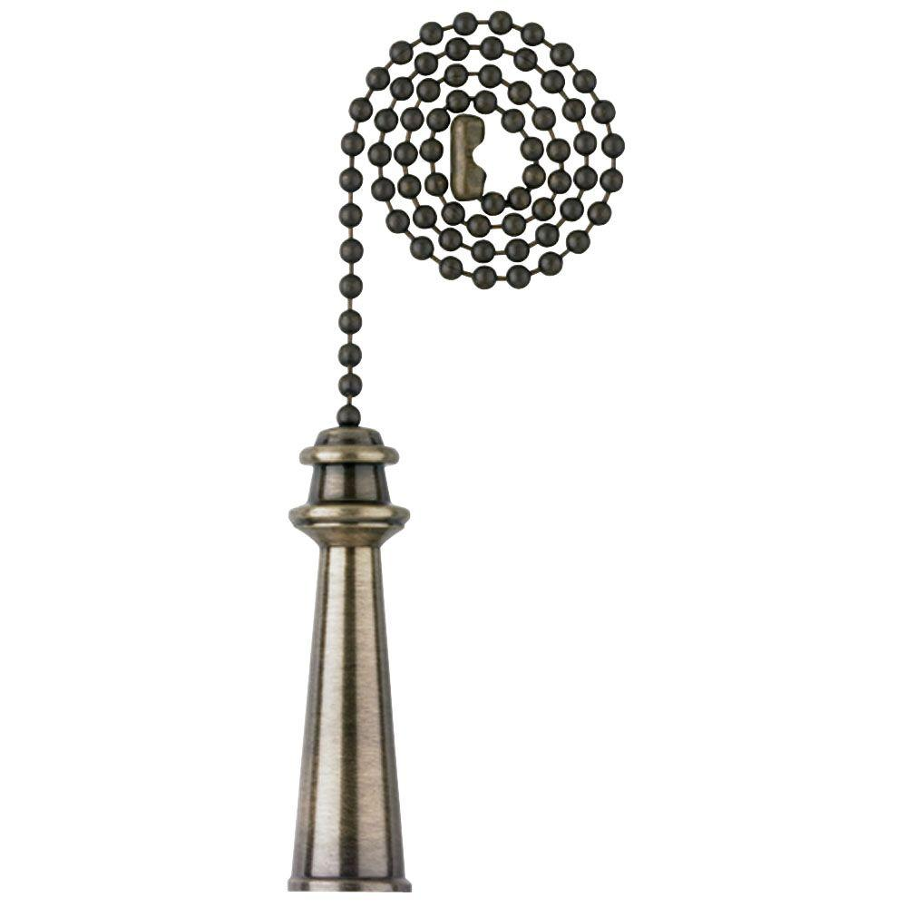 Commercial Electric 12 in. Antique Brass Lighthouse Pull Chain An antique brass finish gives this pull chain a distinguished look. Its trophy-shaped pull is easy to grasp, making this an attractive pull chain for ceiling fans and light fixtures. It includes a 12 in. beaded chain.