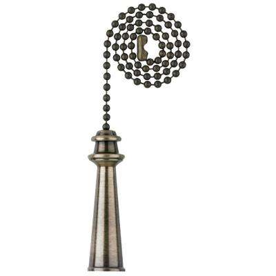 12 in. Antique Brass Lighthouse Pull Chain