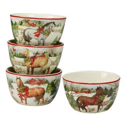 Christmas on the Farm by Susan Winget 5.5 in. Ice Cream Bowl (Set of 4)