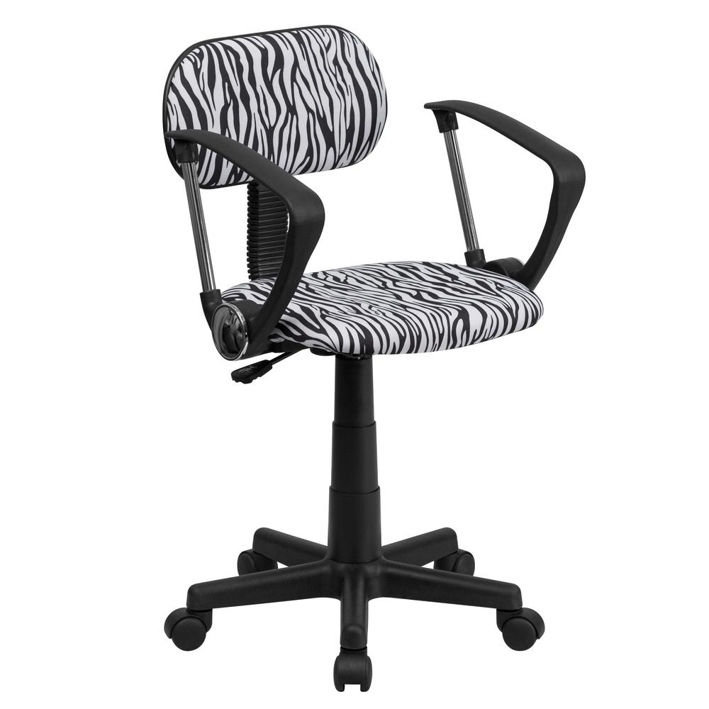 Flash Furniture Black and White Zebra Print Swivel Task Chair with