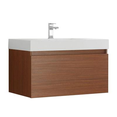 Mezzo 36 in. Modern Wall Hung Bath Vanity in Teak with Vanity Top in White with White Basin