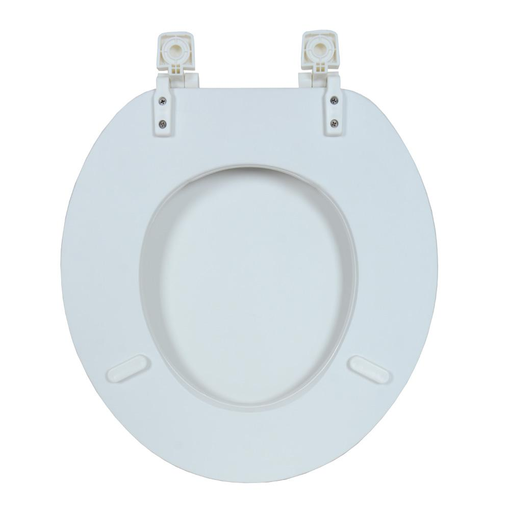 Tremendous Glacier Bay Soft Round Closed Front Toilet Seat In White Theyellowbook Wood Chair Design Ideas Theyellowbookinfo