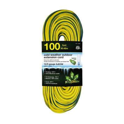 100 ft. 14/3 SJEOW Cold Weather Extension Cord with Lighted End