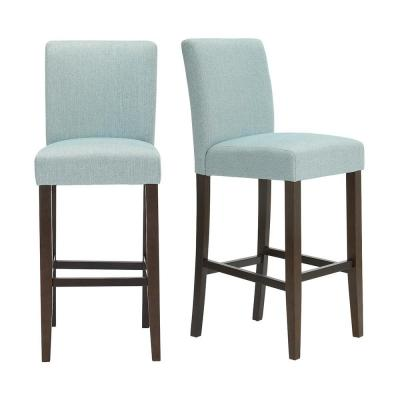 Banford Sable Brown Wood Upholstered Bar Stool with Back and Charleston Teal Seat (Set of 2) (17.51 in. W x 44.29 in. H)
