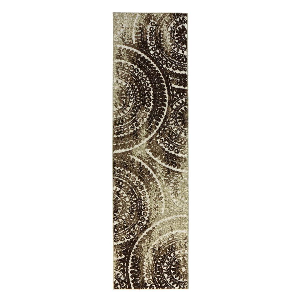 Spiral Medallion Ivory/Brown 2 ft. x 7 ft. Runner Rug