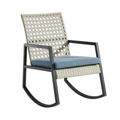 Light Grey Rattan Modern Patio Rocking Chair with Blue Cushion