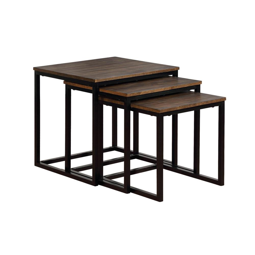 Arcadia Antiqued Mocha 24 in. Acacia Wood Square Nesting End Tables