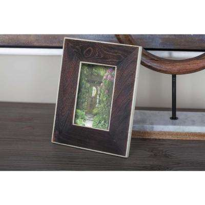 1-Opening 7 in. x 9 in. Rustic Dark Brown and White Picture Frame