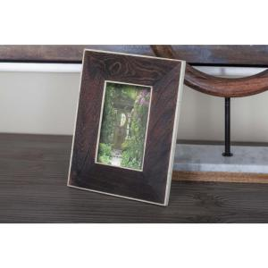 1-Opening 7 inch x 9 inch Rustic Dark Brown and White Picture Frame by