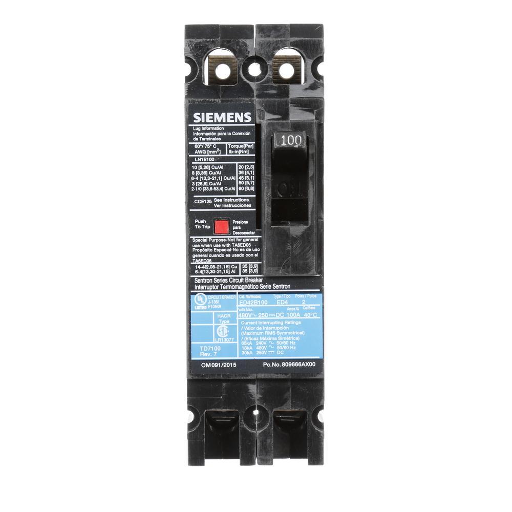100 Amp 2-Pole Type ED 18 kA Circuit Breaker
