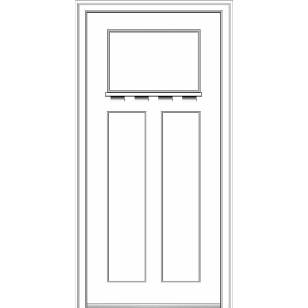 MMI Door 36 in. x 80 in. Shaker Left-Hand Craftsman 3-Panel Painted Fiberglass Smooth Prehung Front Door with Dentil Shelf