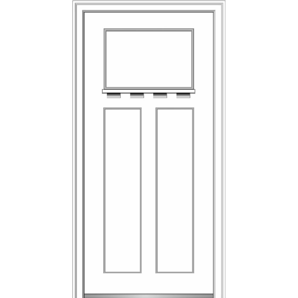 Shaker Right Hand Craftsman 3 Panel Painted Fibergl Smooth Prehung Front Door With Dentil Shelf