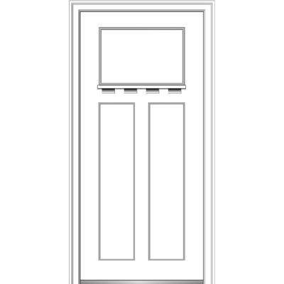 32 in. x 80 in. Shaker Right-Hand Craftsman 3-Panel Painted Fiberglass Smooth Prehung Front Door with Dentil Shelf