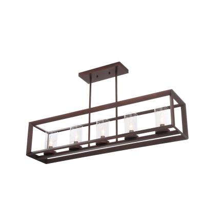 St-Louis 5-Lights Antique Brown Frame Chandelier with Clear Shade