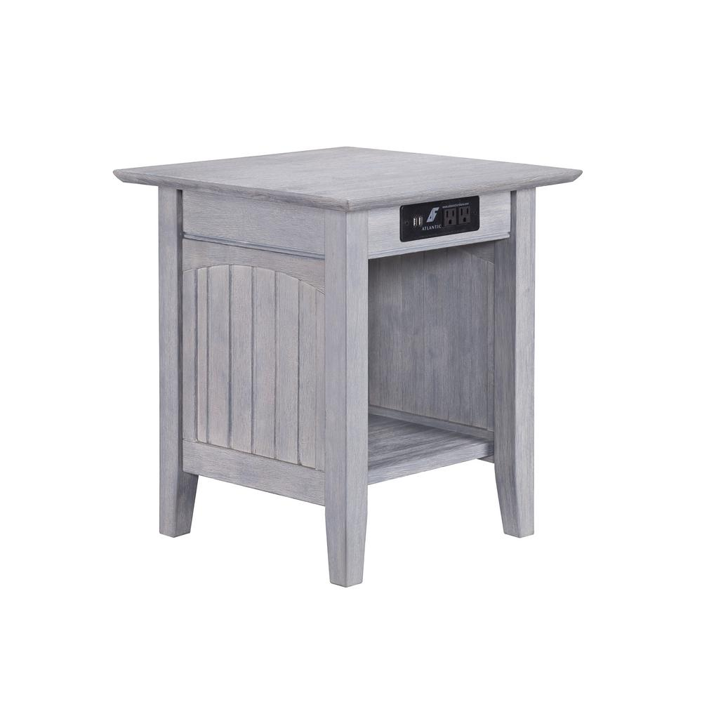 Nantucket Driftwood End Table with Charging Station