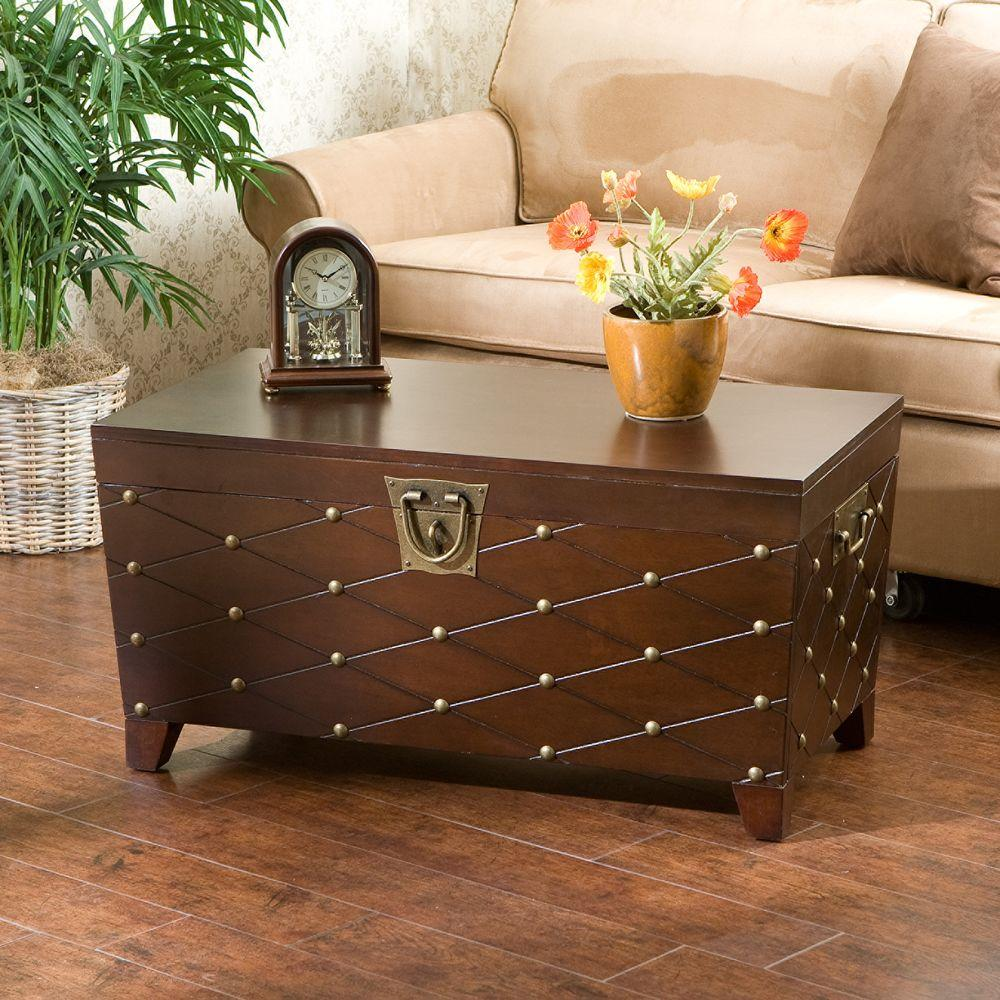 Coffee table accent tables living room furniture the home depot nailhead espresso coffee table geotapseo Image collections