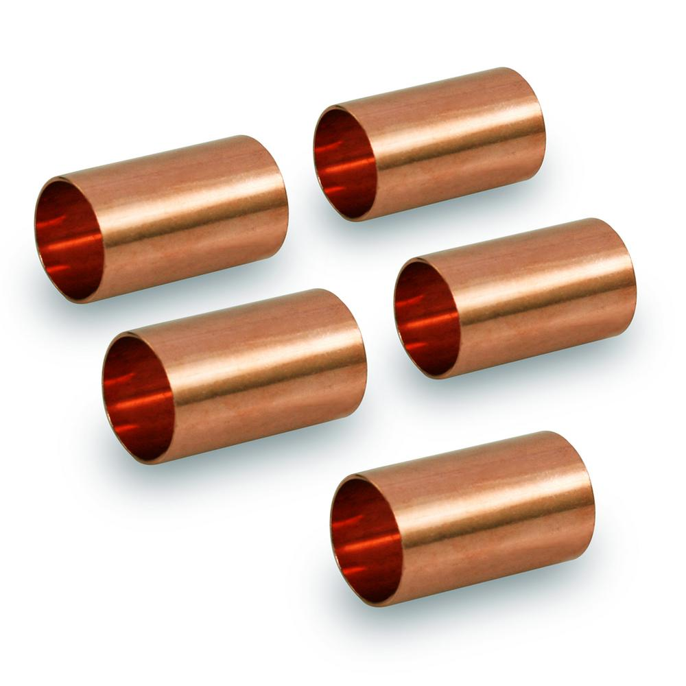 The Plumber's Choice 1/8 in. Straight Copper Coupling Fitting with Dimple Tube Stop (5-Pack)