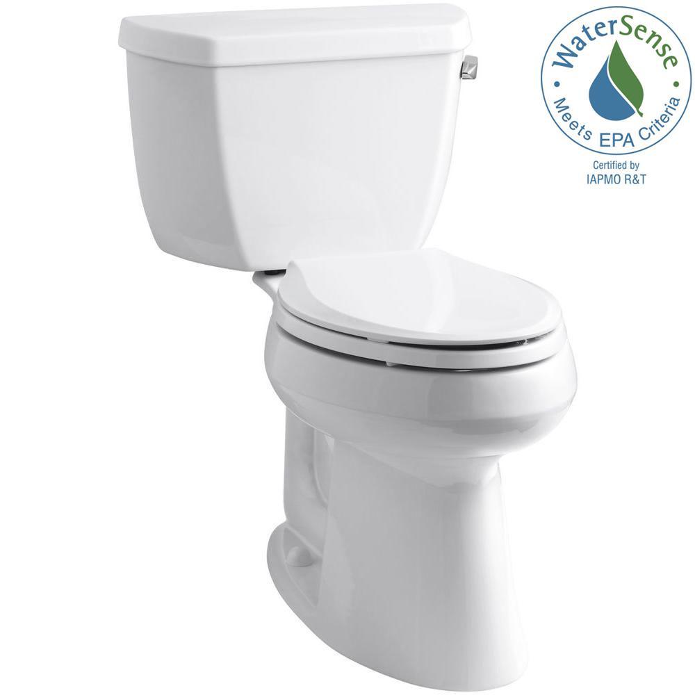 KOHLER Highline Classic Comfort Height 10 in. Rough-In 2-Piece 1.28 GPF Single Flush Elongated Toilet in White