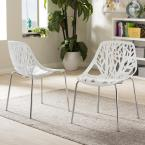 Birch Sapling White Plastic Dining Chairs (Set of 2)