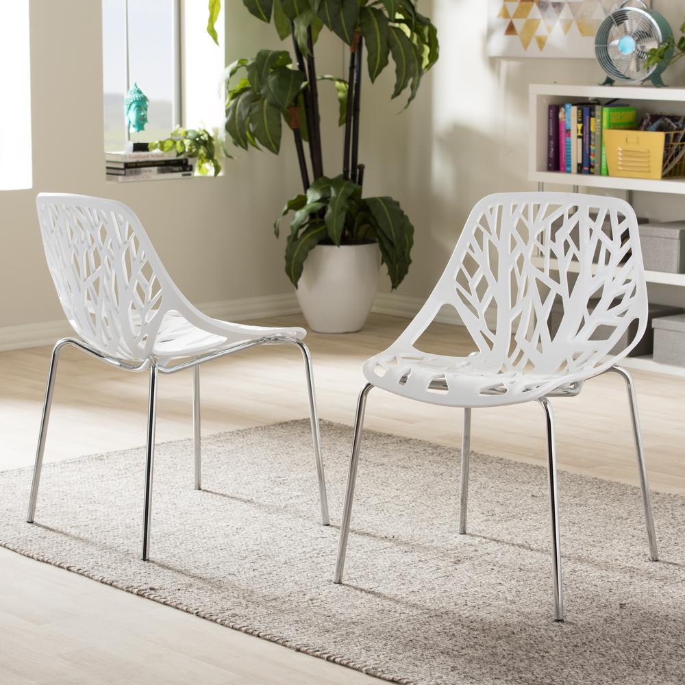 Baxton Studio Birch Sapling White Plastic Dining Chairs (Set of 2)
