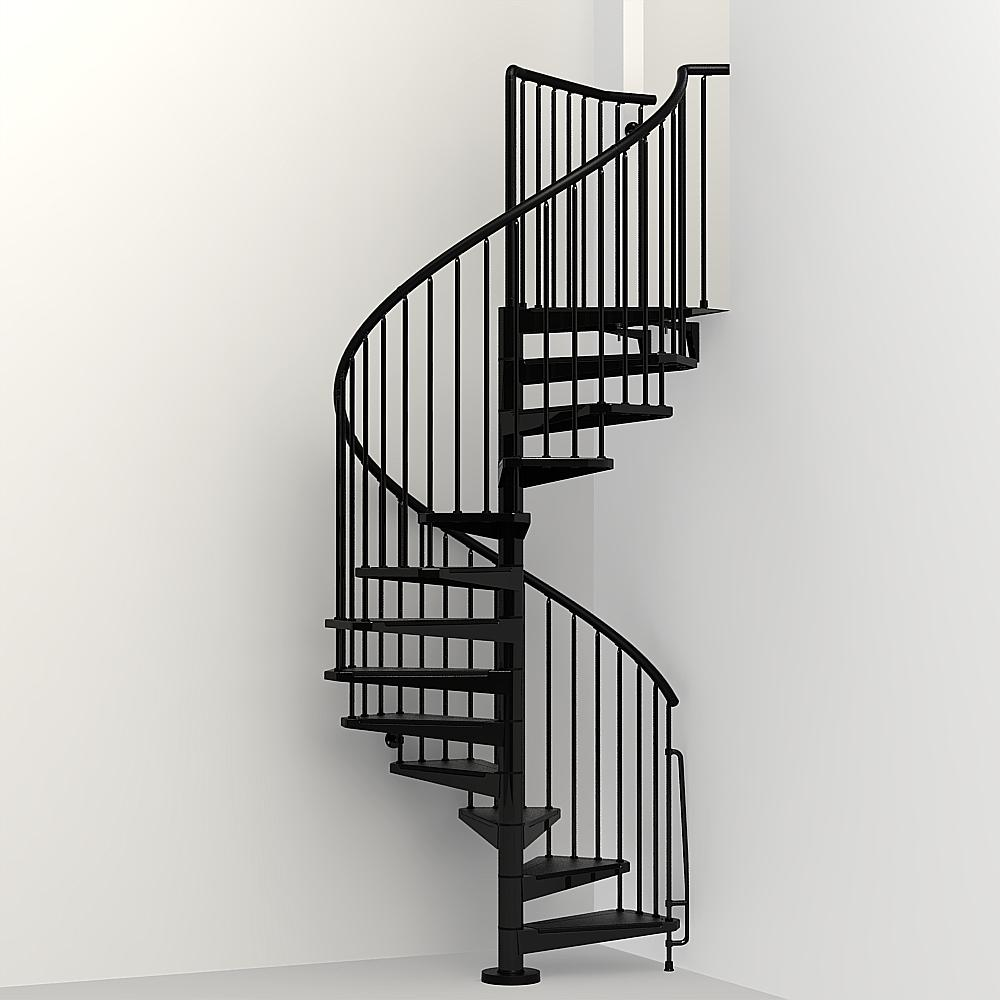 Arke Civik 47 in  Black Spiral Staircase Kit