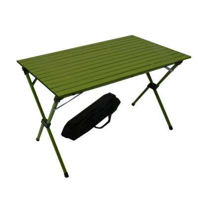 Green Aluminum Rectangle Picnic Table with Bag