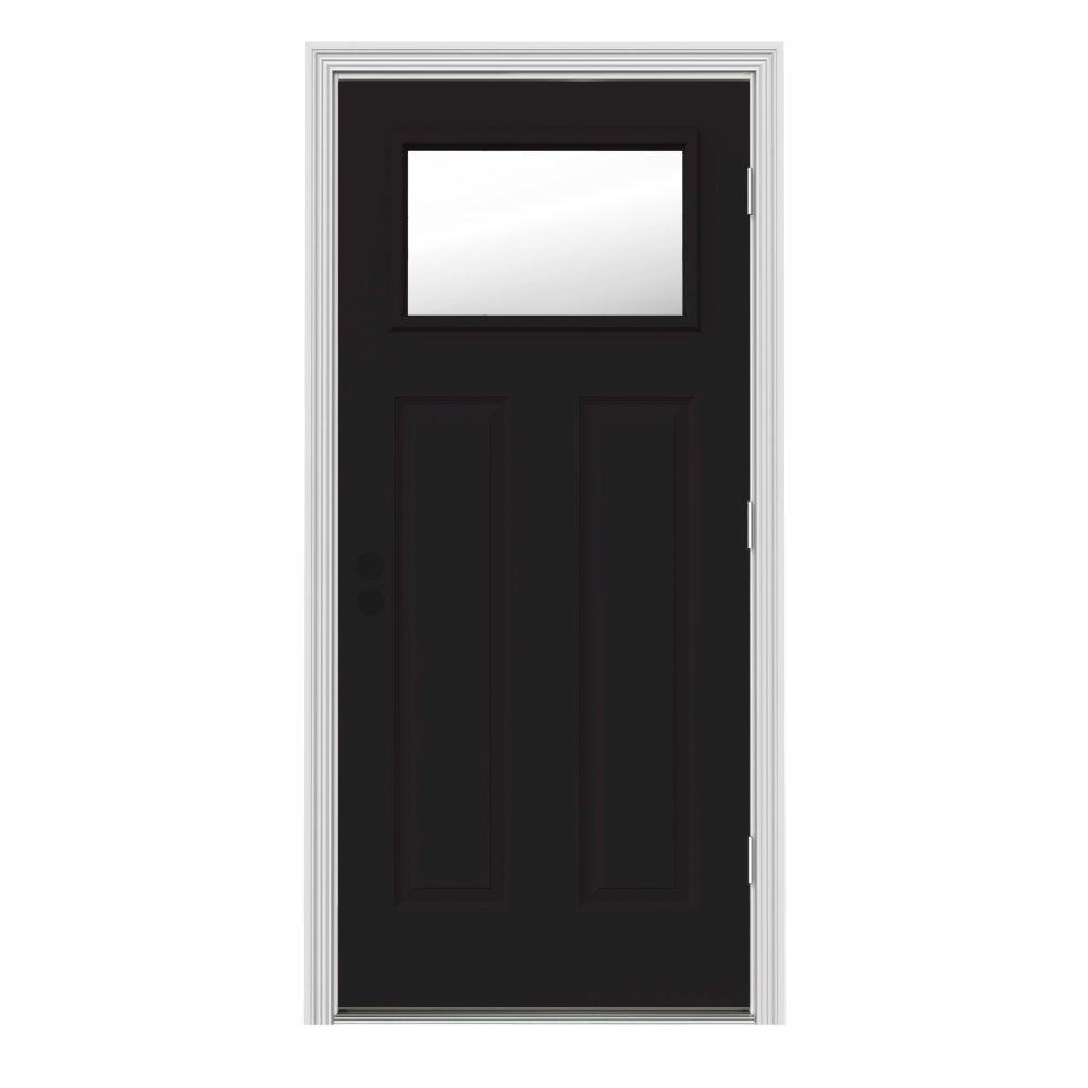 30 in. x 80 in. 1 Lite Craftsman Black w/ White Interior Steel Prehung Left-Hand Outswing Front Door w/Brickmould