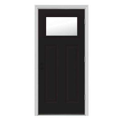 34 in. x 80 in. 1 Lite Craftsman Black w/ White Interior Steel Prehung Left-Hand Outswing Front Door w/Brickmould