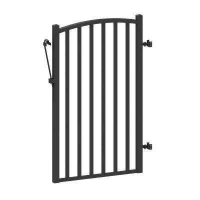 AquatinePLUS 3 ft. x 4 ft. Black Aluminum Yard Fence Gate